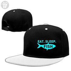ae3b2cb2e93 Eat Sleep Fish Baseball Caps Snapback Hats White ( Amazon Partner-Link)  Baseball