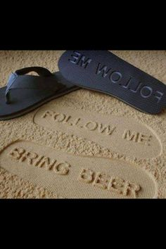 4c68f49306f44 Custom Follow Me BRING BEER Flip Flops - Personalized Booze Themed Sand  Imprint Sandals  check size chart