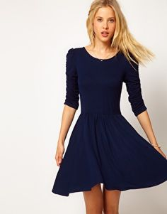 ASOS Skater Dress With 3/4 Ruched Sleeves - only 27.26 dollars! Reminds me of the now-sold-out Shoshanna combo pleated dress.