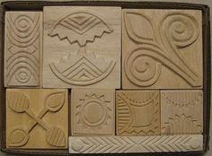 Oshiwa Carved Wood Printing Stamp Set Curvy Geometrics by Oshiwa, $112.00