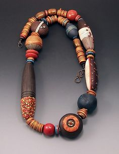 Loretta Lam's Neckpiece appeared in CraftForms the International Juried Exhibition of Contemporary Craft at the Wayne Art Center, Wayne PA from Dec 2009 – Jan T… Polymer Clay Kunst, Polymer Clay Necklace, Polymer Clay Beads, Jewelry Art, Jewelry Design, Tribal Jewelry, Clay Design, African Jewelry, Metal Clay
