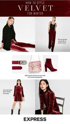 d580e6b0680 Get ready for party season with chic red velvet looks from Express. Rock a  velvet