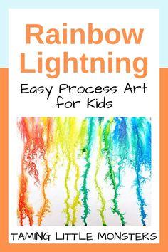 Rainbow Lightning – Process Art for Kids – Taming Little Monsters - Vorschule Spiele Rainbow Activities, Art Activities For Kids, Preschool Activities, Art For Kids, Rainbow Crafts Preschool, Rainbow Learning, Kids Crafts, Room Crafts, Motor Activities