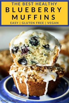 The BEST Healthy Blueberry Muffins. These healthy blueberry muffins are fluffy flavorful and full of healthy ingredients. There are also high protein and vegan options. Gluten Free Blueberry Muffins, Vegan Muffins, Healthy Muffins, Blue Berry Muffins, Healthy Vegan Desserts, Gluten Free Desserts, Dairy Free Recipes, Vegan Sweets, Sweets Recipes