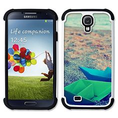 SAMSUNG Galaxy S4 IV / i9500 / i9505 / SGH-i337 - Hybrid Heavy Duty Armor Shockproof Silicone Cover Rugged case (Paper Boats Origami) * Check out the image by visiting the link.