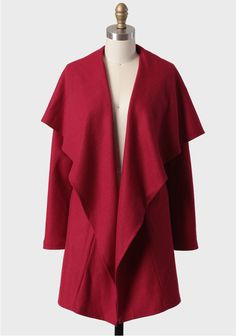 Bleeker Street Draped Jacket In Red 64.99 at shopruche.com. Crafted in a luxurious wool-blend, this deep red open jacket features side pockets and wide lapels for a chic statement look. Add vibrant color to any outfit by layering with this fully-lined jacket.Shell: 50% Wool, 50% Polyester, Lining: 100%...