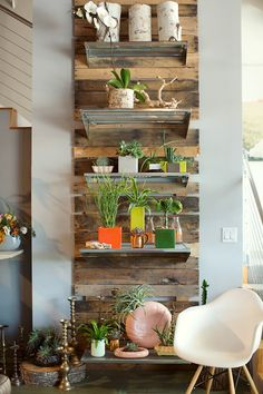 Pallet wall (with books, not plants)
