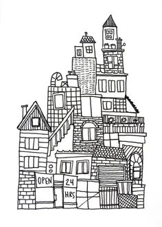Original ink drawing on paper black and white, urban city skyline no. 3 by guida Building Illustration, House Illustration, Illustrations, Black And White City, Black And White Drawing, Colouring Pages, Coloring Books, City Drawing, Ecole Art