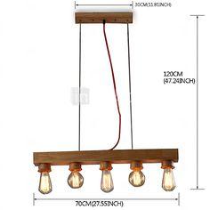 MAX 60W Island Light , Contemporain / Rustique Bois Fonctionnalité for Style Bougie Bois/BambouSalle de séjour / Chambre à coucher / de 2016 ? €82.16