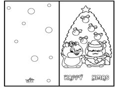 christmas card coloring pages # 4