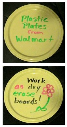 Plastic Plates work as dry erase boards!  Who would have known?