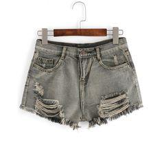 Grey Ripped Fringe Denim Shorts ($15) ❤ liked on Polyvore featuring shorts, grey, distressed jean shorts, torn shorts, distressed shorts, denim shorts and destroyed denim shorts