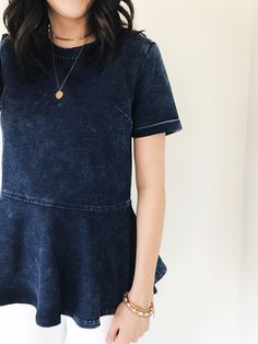 Denim Short Sleeve Top | ROOLEE