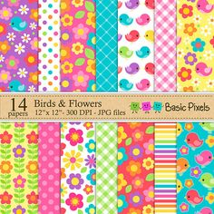 Birds and Flowers Digital Papers - Patterns - Backgrounds - Personal and commercial use