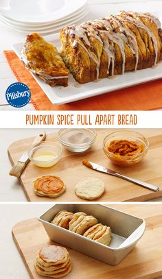 Pumpkin Spice Pull-Apart Bread Pumpkin Pull Apart Bread is super easy to make and an incredibly tasty pumpkin treat! This ooey gooey dessert and is packed with the flavor of Fall. It's the perfect comfort food for a tasty breakfast or brunch. Köstliche Desserts, Delicious Desserts, Dessert Recipes, Yummy Food, Tasty, Easy Fall Desserts, Pumpkin Recipes, Fall Recipes, Holiday Recipes