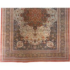 Antique Persian Tabriz Hadji Jalili Oriental Carpet, Mansion Size | From a unique collection of antique and modern persian rugs at https://www.1stdibs.com/furniture/rugs-carpets/persian-rugs/