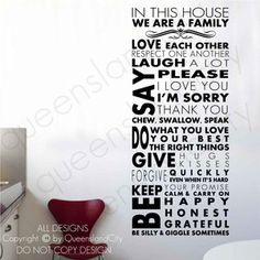Image detail for -House Rules Wall Quote Family Inspirational Art Decal Vinyl Sticker ...