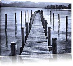 Langer Holzsteg Ins Meer Schwarz/Weiß, Format: 120x80 Auf Leinwand, XXL  Riesige