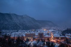 Aro Palace hotel seen from Cetatea Brasov on a very cold day of January Buy this image. Seattle Skyline, Paris Skyline, Palace Hotel, City Architecture, Cold Day, San Francisco Skyline, Brasov Romania, Winter Snow, January