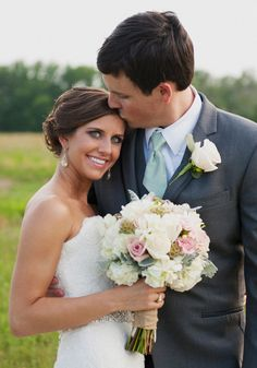 I love how the groom's tie matches the bride's beautiful greeny-blue eyes.