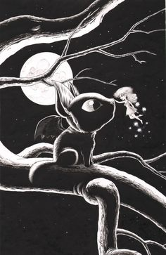 Batcat and Friend, a pen-and-ink drawing of a friendly encounter in the Autumnlands, the home of Halloween