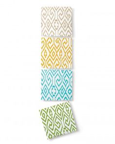 Ikat wallpaper in modern punchy colors. Use them in the laundry room or the back of bookshelves.  Have a little fun!