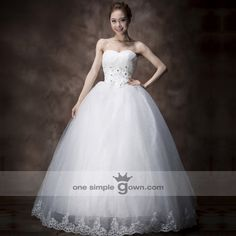 Strapless Appliques/Beading White Color Floor Length Tulle Ball Gown Wedding Dress