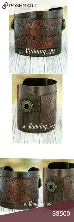 """""""""""ARRIVING SOON """"""""BURNISHED COPPER TONE CUFF MAKE A STATEMENT WITH THESE ENGRAVED  """"WILD HEARTS CAN'T BE BROKEN"""" FEATURES - BURNISHED COPPER TONE , HAMMERED TEXTURE, 2 CROSSES EACH W/ 1 """"TTK BULLET DISC,PLATE W/ INSCRIBED MESSAGE ,2.5"""" WIDE 7.5"""" INSIDE CIRCUMFERENCE INCLUDING 1.25"""" GAP LEAD COMPLIANT & GORGEOUS CUFFS - PRESS LIKE NOW , PRICED HIGH A POSSIBLE SHIP DISCOUNT WHEN THESE ARRIVE Stunning_29  Jewelry Bracelets"""