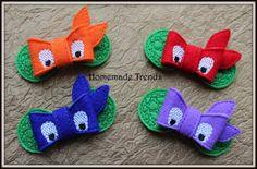 Turtle Bow Headband-Turtle Accessory-Ninja Bows-Felt 3D Bows-3D Turtle Bow-Ninja Hair Accessory-Colored Turtle Bows-Turtle Hard Headband