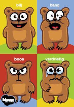 GEVOELSKAARTJES: Kleine kinderen kunnen nog nietgoed verwoorden hoe ze zich voelen. Knip de vier afbeeldingen met herkenbare gezichtsuitdrukkingen (blij, bang, boos en verdrietig) uit. Laat je kind via deze gevoelskaartjes tonen hoe het zich voelt. Zo'n babbel hoeft niet meer dan drie minuten te duren.