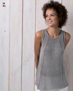 Легкий стильный топ спицами для женщин, выполненный из летней смесовой пряжи на основе хлопка. Вязание переда и спинки осуществляется чулочной...