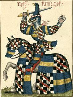 Régnier [= René] Pot, sgr de Prugne (v1362-1432) (Gaignières 1837). -- Aquarelle, d'après «Carousel des chevaliers de l'ordre de la Toison d'or, fait à Bruges aux nopces de Philippe le Bon, duc de Bourgogne, avec l'infante Isabel de Portugal au mois de janvier M.CCC.XXX», ms du cabinet de l'empereur d'Autriche, à Vienne. -- «Mes[sire] Rinie Pot»