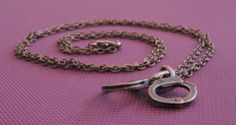 """Handcuffs Pendant w/ 20"""" Chain Link Necklace - Antiqued Copper Finish"""