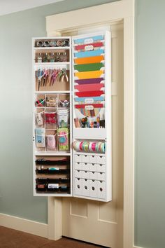 The Over-The-Door Craft Armoire from Jinger Adams is the perfect solution for organizing craft supplies in one place. The Craft Armoire is made of pressed wood Craft Room Storage, Craft Organization, Craft Rooms, Paper Storage, Door Storage, Office Storage, Organizing Tips, Storage Shelves, Craft Armoire