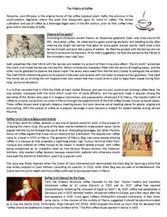 The History Of Coffee - Reading Comprehension Worksheet / Text Comprehension Exercises, Reading Comprehension Worksheets, Comprehension Questions, Classroom Contract, Active Voice, Coffee Reading, English Reading, English Activities, Card Reading