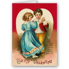"""Vintage Boy and Girl Dancing Card """"I love my love because I know my love loves me"""""""