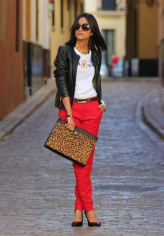 38 Stylish Work Clothes � Office Fashion  #calçacolorida #pretoevermelho #jaquetadecouro