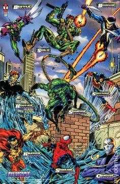 Spider-man enemies - 1994 Marvel Cards Masterprints (Fleer Corp) by Mark Bagley Comics Spiderman, Marvel Comics Superheroes, Marvel Villains, Dc Comics Art, Marvel Characters, Marvel Heroes, Spiderman Pictures, Superhero Images, Sean Parker