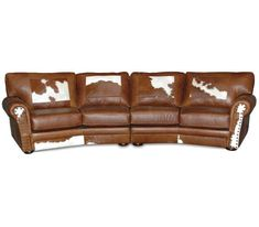 Western Canyon Ridge Curved Leather Sofa Prima Western Furniture, Rustic Furniture, Furniture Ideas, Southwestern Chairs, Conversation Sofa, Living Room End Tables, Curved Sofa, Light Pull, Western Homes