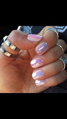 nail polish metallic, holographic, mother of pearl iridescent holographic nail polish, iridescent, pink opal, MINX