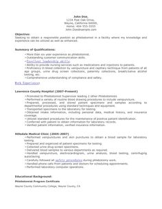 resume objectives for a phlebotomist sample phlebotomist resume phlebotomy resume