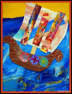 What's a Viking without a Viking ship? After making our vikings we needed to add some sort of transportation to our Viking mural. Viking Ship, Viking Art, 2nd Grade Art, Second Grade, Fall Art Projects, Art Classroom, Classroom Ideas, Ship Art, Painted Paper