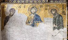 """DEESIS: In Byzantine art, and later Eastern Orthodox art generally, the Deësis or Deisis (Greek: δέησις, """"prayer"""" or """"supplication""""), is a traditional iconic representation of Christ in Majesty or Christ Pantocrator: enthroned, carrying a book, and flanked by the Virgin Mary and St. John the Baptist, and sometimes other saints and angels. Mary and John, and any other figures, are shown facing towards Christ with their hands raised in supplication on behalf of humanity."""
