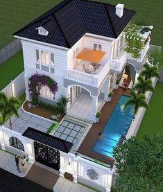 Trendy exterior facade house dream homes 59 Ideas House Plans Mansion, Sims House Plans, House Layout Plans, House Layouts, 2 Storey House Design, Sims House Design, Duplex House Design, Modern Exterior House Designs, Dream House Exterior