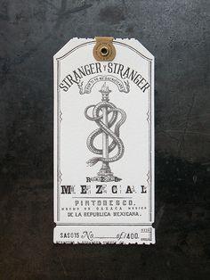 https://flic.kr/p/iXzKJY   Stranger & Stranger Spirit Tag - Mezcal   Custom letterpress production by Cranky Pressman for Stranger & Stranger Holiday Gifts. www.strangerandstranger.com