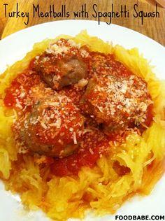 I love spaghetti squash and this recipe makes it even healthier! Turkey Meatballs With Spaghetti Squash on http://foodbabe.com