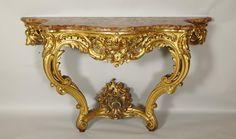 Console En Bois Doré De Style Louis XV, Glustin, Proantic