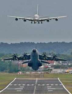 "myverycrazyblog: ""take off and landing "" Airbus A400M Atlas and A380."