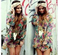 bohemian, floral, dress