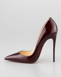 Christian Louboutin So Kate Patent Leather Point-Toe Pump, Rouge Noir - Neiman Marcus